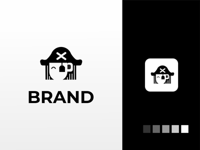 Pirate tea logo branding akdesain creative logo logo design minimal negative space pirates tea cup green drink tea