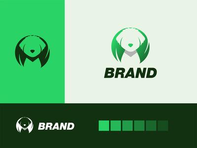 Eco maltese logo akdesain design creative minimal negative space logo design pet maltese dog animal eco green logo