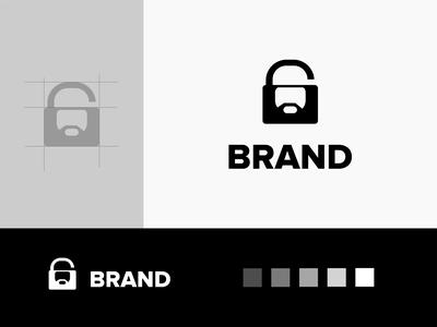 muslim unlock logo logo akdesain minimal logo type creative logo design negative space protected security unlock lock iman muslim people man