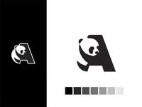 A letter Panda logo akdesain branding logo creative minimal logo design negative space black  white black panda bear panda logo animal panda bamboo