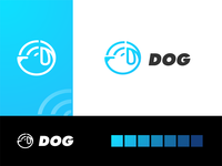 wifi dog branding logo minimal creative logo design negative space line dog logo puppies wireless network wifi dog animal