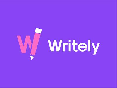 writely minimal logo design negative space logo website loog akdesain course education symbol logo type w pencil pen writing writely write