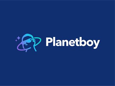 Planet boy minimal branding negative space logo design light shine global akdesain planet planet logo planet boy kid cool gentle boy men