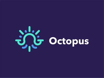 octopus illustration clean creative negative space branding logodesign akdesain logo design line line art minimal bright sun sun logo logo