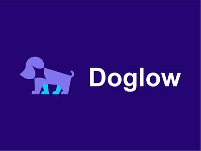 Doglow akdesain creative negative space logo design pets logo dog logo veterinary pets doggy animal dog stars shine glow