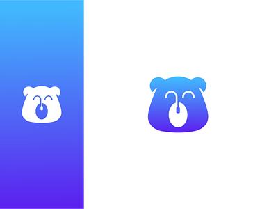 bear digital illustration minimal creative negative space logo design akdesain mouse logo muse head digital logo mouse digital bear bear logo