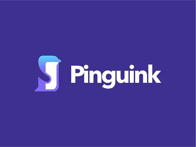 Pinguink logo illustration creative branding logo design typography negative space minimal pinguin logo blue ice water sea pink pinguin