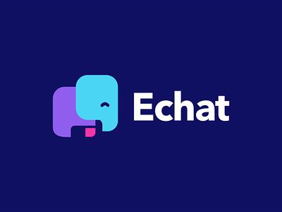 Echat creative lettering negative space logo design minimal akdesain akdesian chit chat chit caht bubble chat chat elephant logo elephants elegant elephant