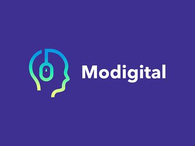 Modigital creative branding negative space logo design health research lab think akdesain cursor mouse technology tech digital people brain head