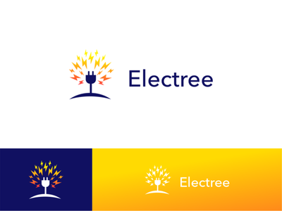 Electree branding minimal creative negative space logo design elements for sale akdesain power energy tree electronic electricity elegant electric