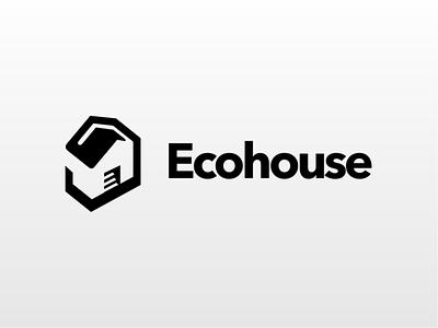 EcoHouse branding illustration creative logo type negative space logo design akdesain real estate agent real estate logo realestate minimal home house eco