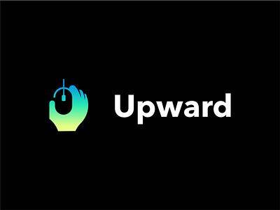 Upward branding minimal logo design negative space akdesain process work mouse logo up hand logo hand mouse etch digital design