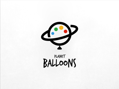 Planet Balloons simple minimal modern icon global circle space planet colour ball balloon logo