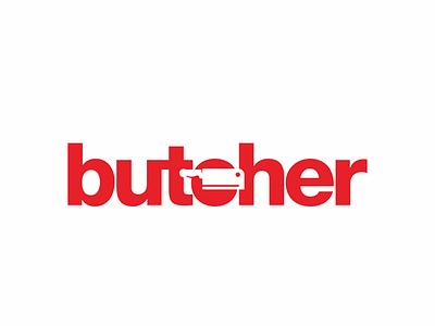 Butcher 338/365 branding logo type negative space illustration typography lettering logo design business resto knive butchery butchers butcher