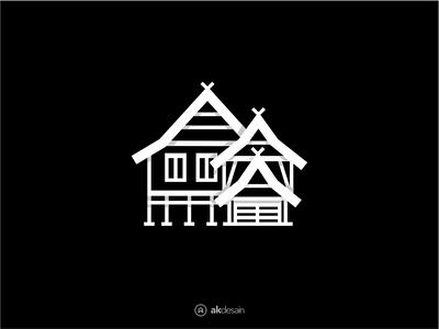 Balla lompoa logo design minimal illustration logo gowa makassar visit indonesia south sulawesi house logo rumah balla bugis balla lompoa house illustration traditional village house