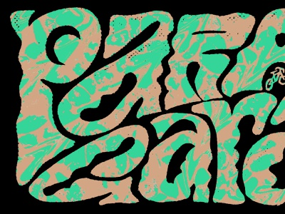 pair of dice halftone illustration bikes marbled psychedelic lettering