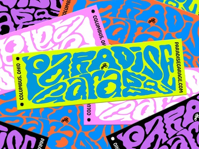 Paradise Stickers bumper sticker psychadelic lettering