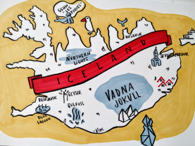 Illustrated map of Iceland colorful sketchbook reykjavik island drawing mapa travel map illustrated map illustration iceland