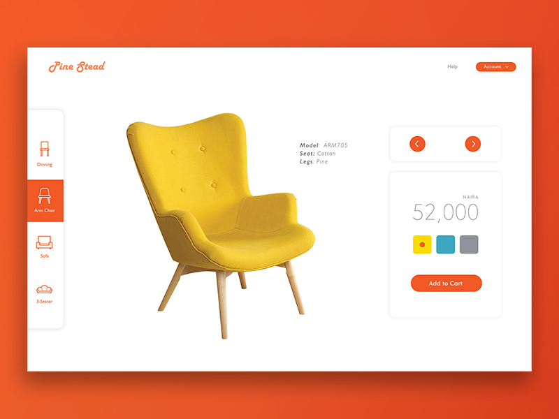 Furniture Catalog Concept check out web design landing page minimalist clean design ux ui