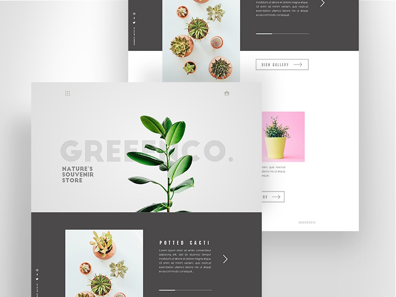 GREEENCO. - Free Sketch Web UI design ui minimal freebie download sketch interface uiux webdesign
