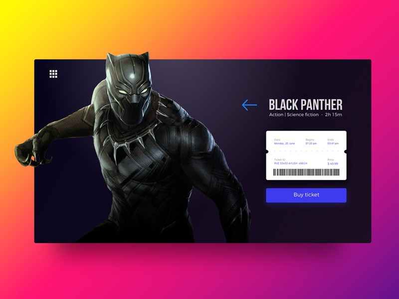 Black Panther: Ticket Checkout page gradient color ui concept minimalist clean uidesign uiux