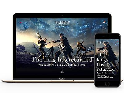 Final Fantasy XV - The King Has Returned ff15 final fantasy 15 game ps4 xbox one final fantasy square enix noctis redesign webdesign ui ff