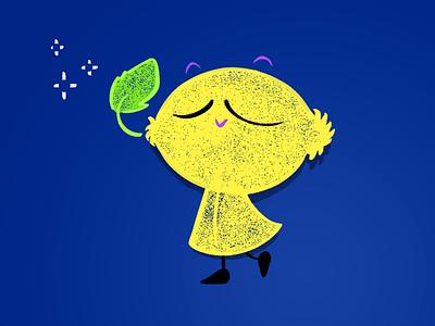 Lemon guy yellow kids happy design character lemon