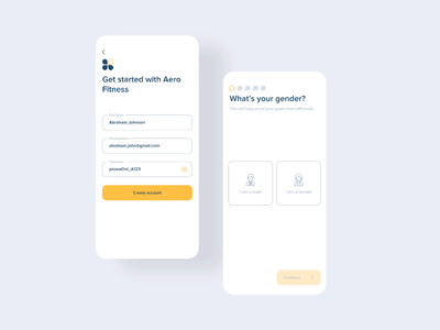 Fitness App Onboarding | Mobile UI UX App Design onboarding create account signup login weight workout gym exercise interaction minimal fitness ui ios app ux mobile animation