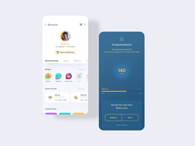 Gamification for Aero Fitness Mobile App gym fitness vector design branding ui animation illustration rewards score points achievements badges tags inspiration gamification minimal ios ux mobile