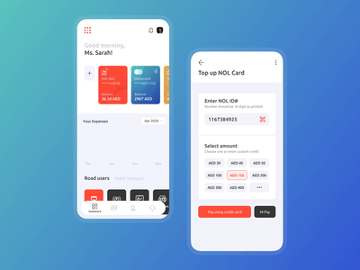 Roads & Transport Dashboard and Top-up load credit topup taxi ride fintech finance cards wallet illustration animation dashboard graph product uxdesign ui ux application app mobile