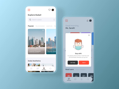 Discover Places and Alerts Screen notification alerts navigation tab search taxi product uae ios mobile design animation illustrations visual interaction uxui ux travel discover dubai