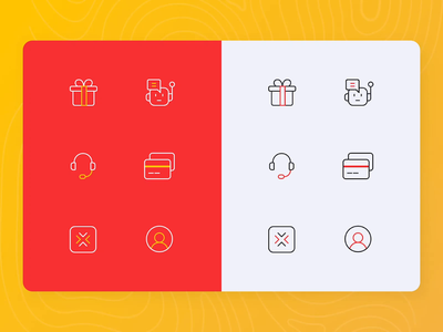 Dual-tone line icon set credit card card support gift transport car taxi ui line minimal icon pack vector icon design iconsets iconography iconset logo icon illustration animation