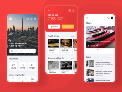 Help Center, Rewards and News Screen ecommerce shopping food suport customer chatbot help center help center news gamification rewards icons visual design ui product mobile ux