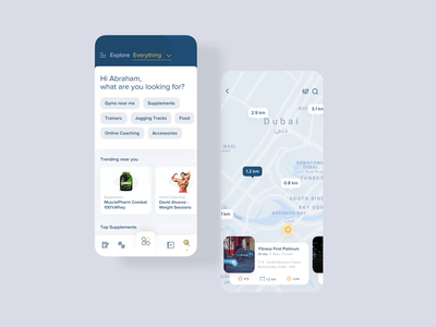 Fitness App | Discover Near You app product design ios mobile design minimal google maps ui ux interaction animation map search tags trending supplements gym fitness explore discover
