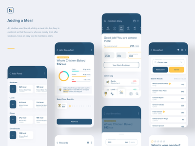 Fitness App | Add a Meal branding ui ios interaction design card food calendar diary nutrition add gym logo icon illustration product design ux mobile meal app fitness