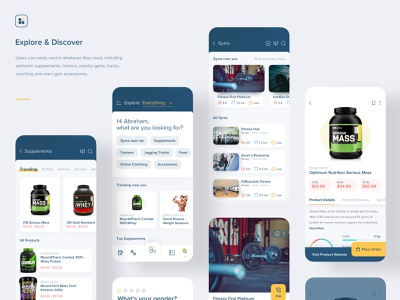 Aero Fitness | Explore & Discover minimal vector product design interaction supplements marketplace order ecommerce buy search explore discover trending ios workout gym fitness ux app mobile