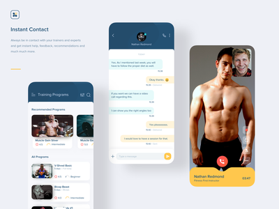 Aero Fitness | Instant Contact interaction animation clean product design web vector illustration app ios ux mobile fitness messaging app call video chat sms inbox message messaging