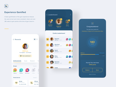 Aero Fitness | Gamification ui ux ios score minimal clean illustration animation mobile qrcode redeem achievements points game games leaderboard product design interaction experience gamification