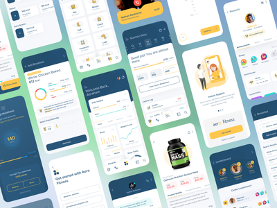 Aero Fitness Mobile App UI/UX Design icon gamification points call marketplace buy ecommerce signup login exercise meals calendar messaging identity branding logo fitness clean minimal illustration