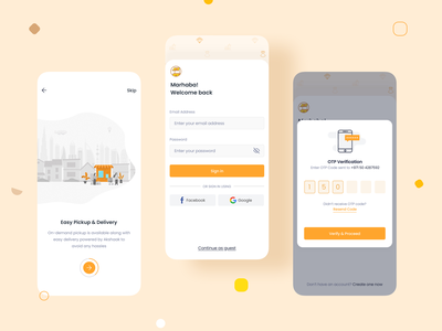 Onboarding | Marketplace UI/UX Mobile Design shop check in product design interaction animation illustration onboarding create account login signup number phone code otp one time password store ecommerce marketplace mobile