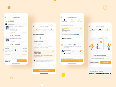 Order Placement | Marketplace UI/UX Mobile Design icon logo illustration credit card payment mobile app wizard product design ux ui mobile track order address checkout shopping cart order place order marketplace ecommerce