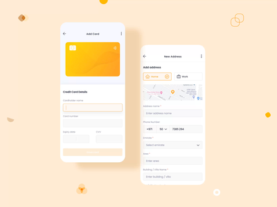 Payment and Address Management | Marketplace UI/UX Mobile Design mapping mobile product design design interaction illustration animation ios ux google map marketplace shop store sales ecommerce address payment card credit