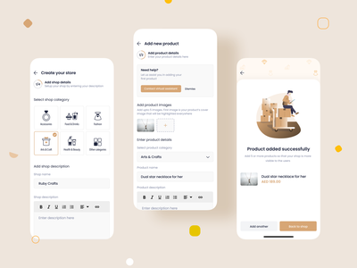 Create Store and Add Products | Marketplace UI/UX Mobile Design details product create iconography icons ux product design clean minimal design interaction ui illustration animation ecommerce app shopping marketplace store shop