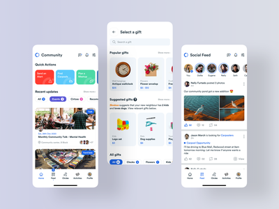 Community App   52 Weeks of Interaction Design twitter facebook gifts ecommerce interaction graphic illustration visual ux mobile ui mobile app media social community product 52weeksofinteractiondesign