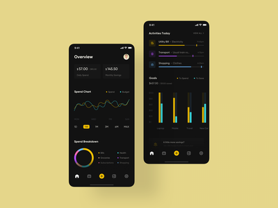 Expense Management App dark darkmode 52weeksofinteractiondesign interaction app ux animation mobile widgets stats dashboard money budget expense management expense