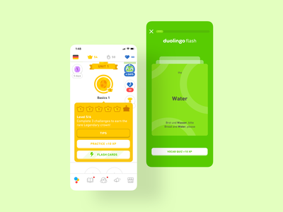 Flashcards for Duolingo interaction mobile app animation design ui ux product learning course mobile 52weeksofinteractiondesign