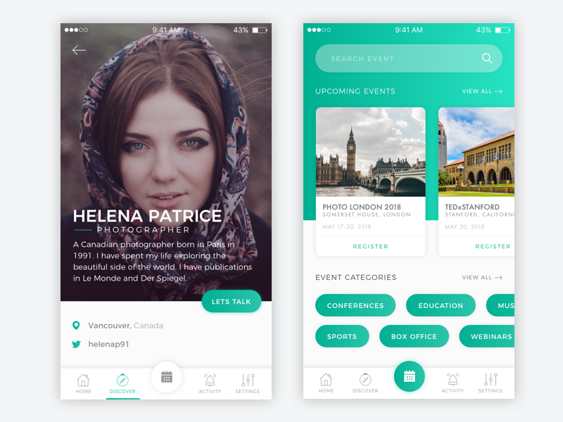 Profile and Events Screen mobile screen ios events profile design ux ui app mobile