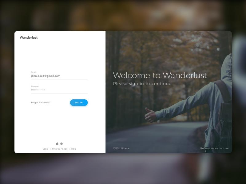 Wanderlust - Login Page for CMS interface clean ux dashboard minimal ui login wanderlust cms design web