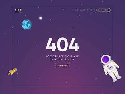 404 Page - Lost In Space web design ui ux planet sky moon earth space astronaut lost in space illustration 404