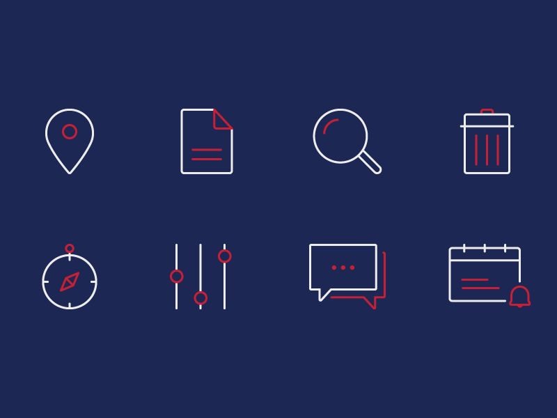 Iconset - Dark Theme Experimentation illustrations blue pink stroke dark theme line art outline iconography icons iconset
